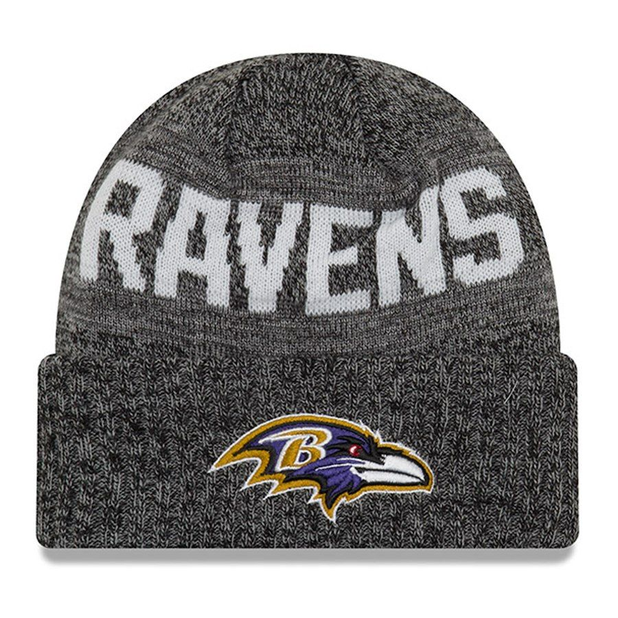 557f21f3f Baltimore Ravens New Era 2018 NFL Sideline Cold Weather Graphite ...