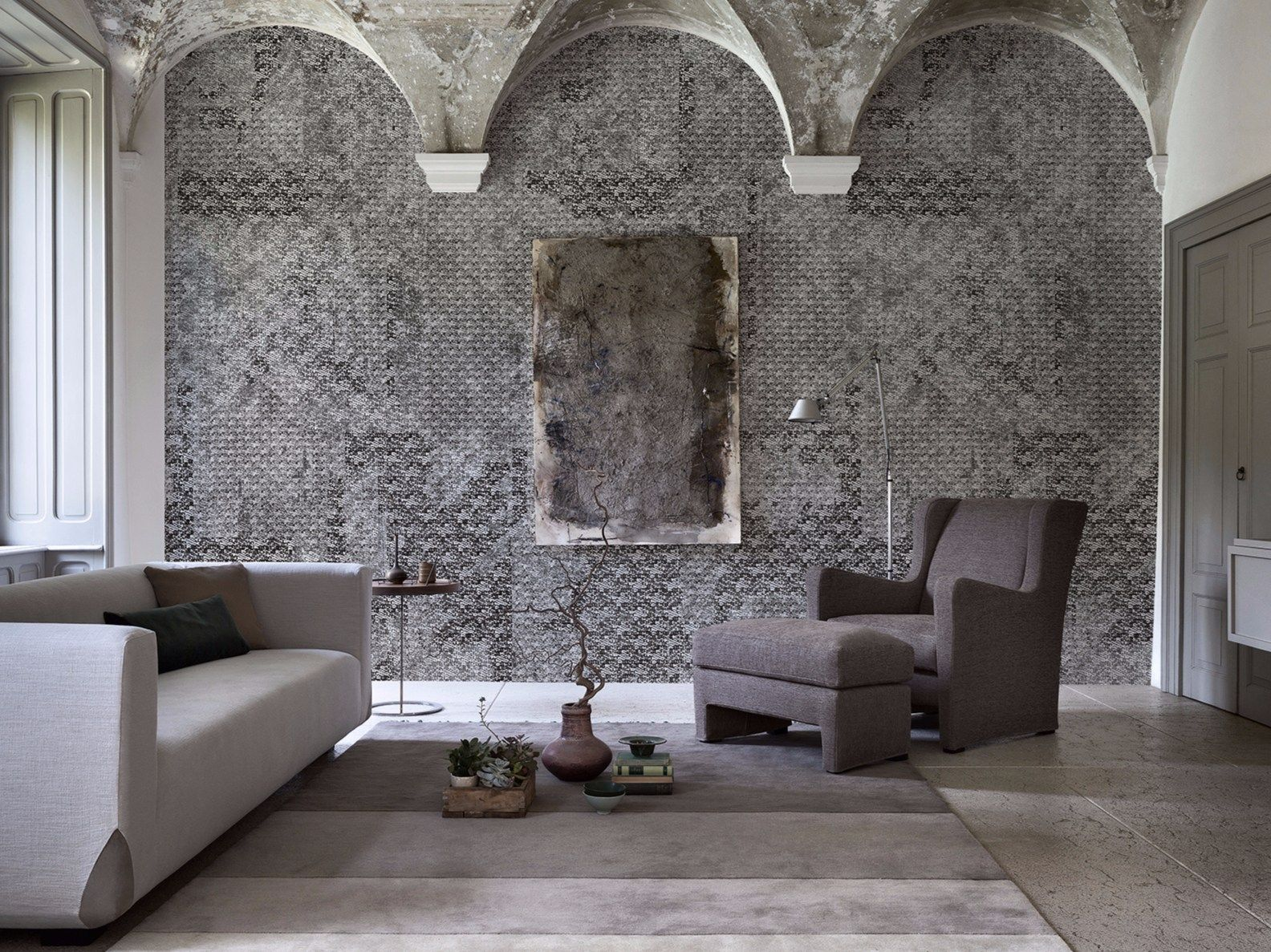 Luopificio inkiostro bianco mural decorations inspired by textile