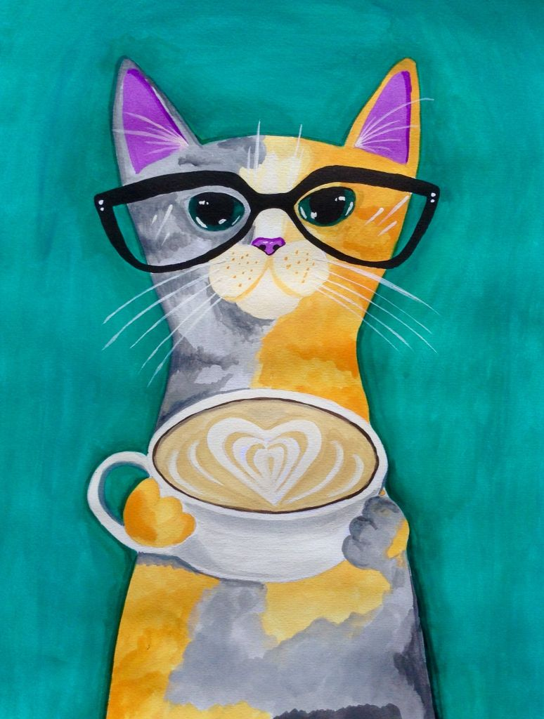 Calico cat drinking coffee...watercolor My attempts at