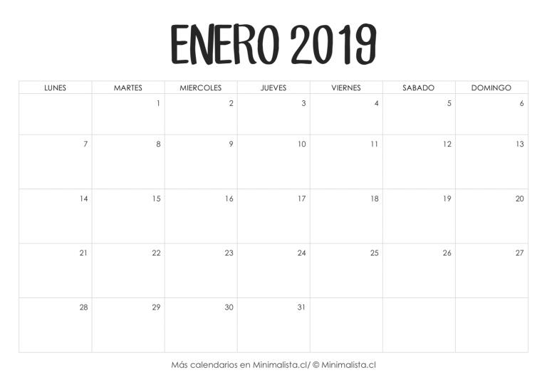 c2cbc4947b44f Calendario Enero 2019 para Imprimir