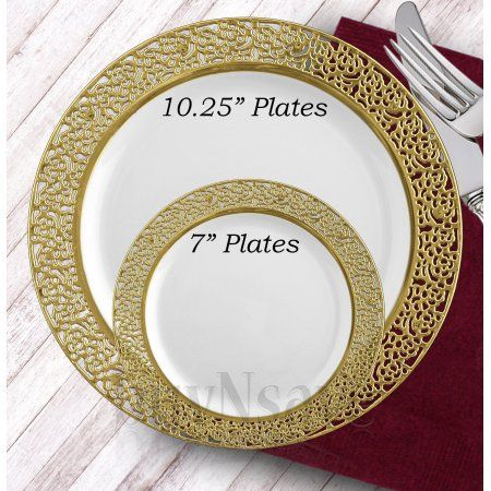 White with Gold Heavyweight Plastic Elegant Disposable Plates Wedding Party Elegant Dinnerware Inspiration.    sc 1 st  Pinterest & White with Gold Heavyweight Plastic Elegant Disposable Plates ...