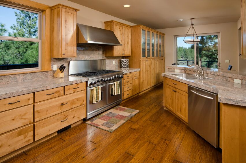 This Lovely Wooden Kitchen Has A Dark Hardwood Floor That Matches The Beautiful Colors In The Cabinets Wooden Kitchen Floor Kitchen Flooring Wood Floor Kitchen