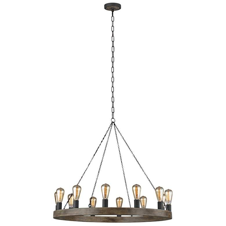 Feiss Avenir 36 Wide 12 Light Weathered Oak Wood Chandelier 65m47 Lamps Plus With Images Wood Chandelier Weathered Oak Oak Wood