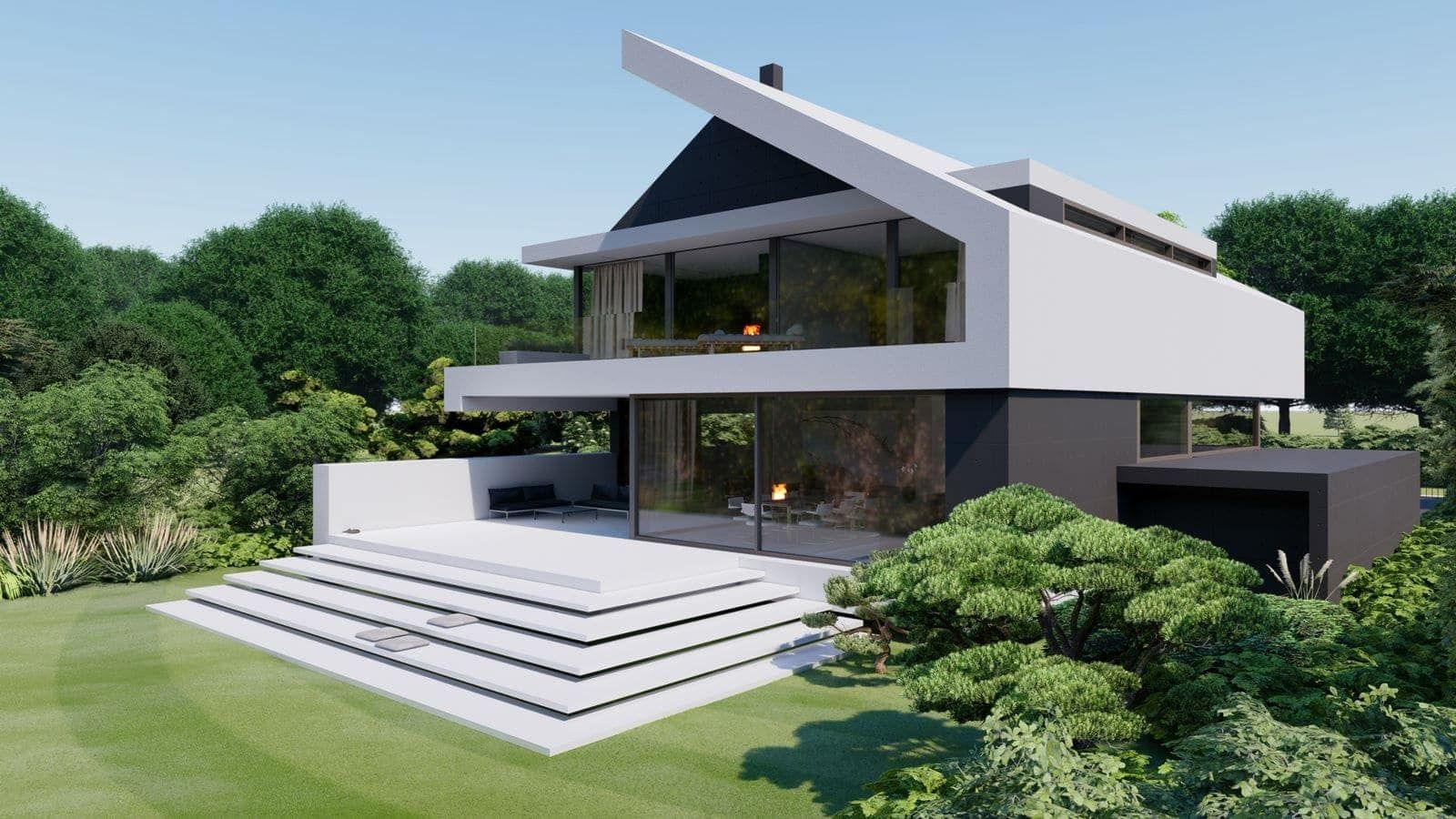 Modernes Satteldachhaus 7 In 2020 Moderne Hauser Mit Satteldach Moderne Hausfassade Satteldach Modern