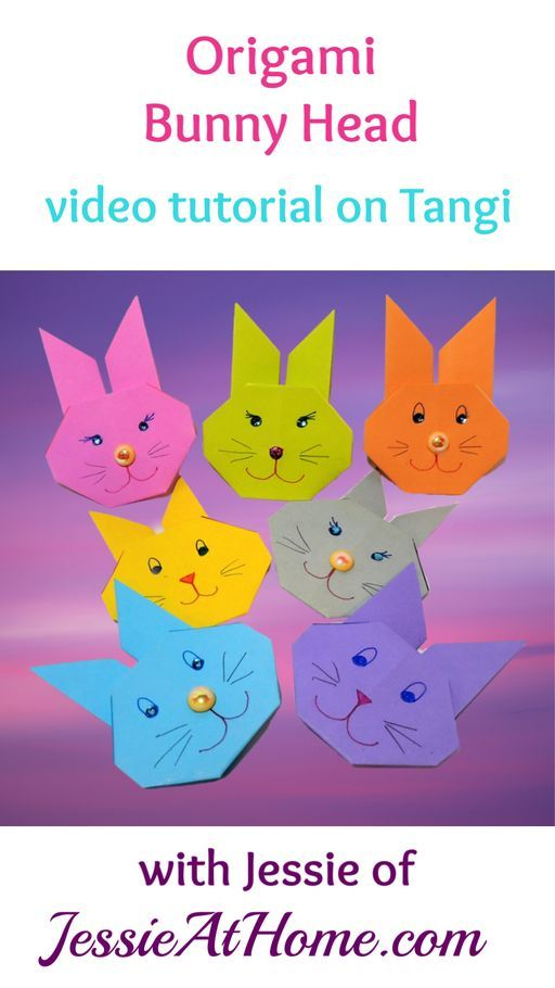 The Origami Bunny Head Pattern is super simple to make, so it's great for kids and beginners. Here you will find a written and pictorial tutorial. #OrigamiBunny #OrigamiBunnyHead #EasterOrigami #OrigamiRabbit #EasterCraft #EasyOrigami #OrigamiForKids #KidOrigami #KidCraft #OrigamiPattern #JapanesePaperFolding #Origami #PaperCrafting #OrigamiTutorial #Art #Crafts #DIY #JessieAtHome #JessieRayot