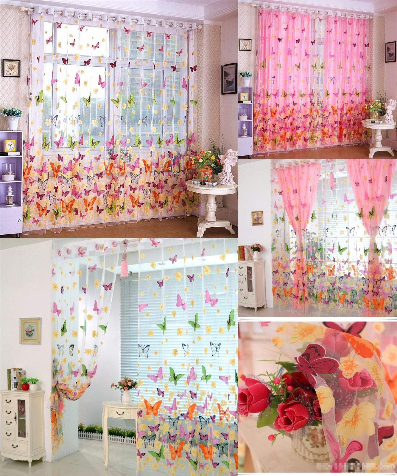 Window behind headboard ideas  visit to buy butterfly print sheer window curtain tulle voile