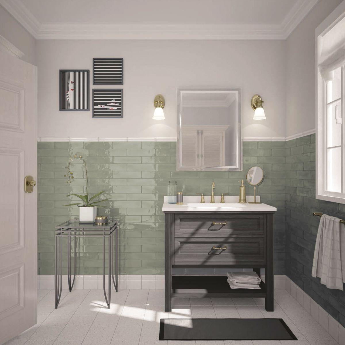 Before & After: A Beige Bathroom Gets A Deep Green Refresh ...