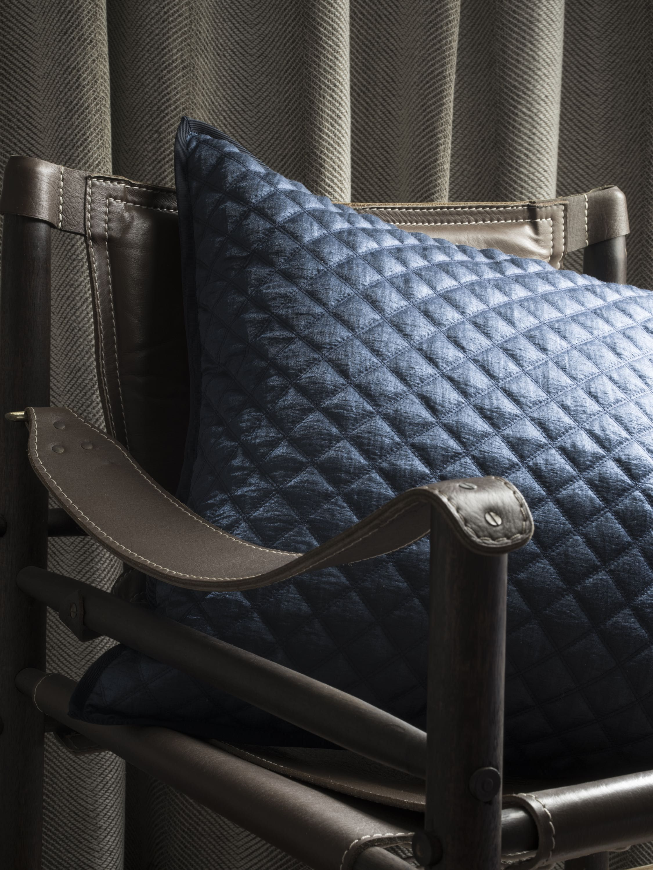 Opera Quilted Cushion In Sapphire With A Matt Appearance