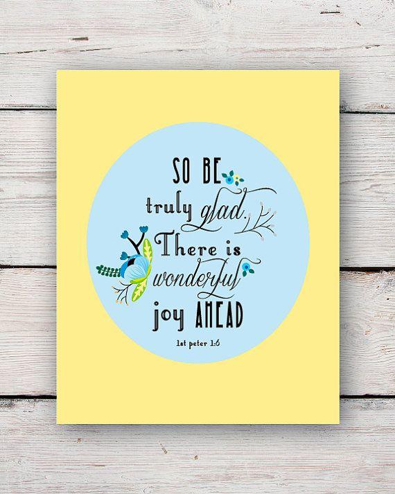 1st Peter 1:6 Christian Art Bible Scripture Wall Art Print - So Be ...