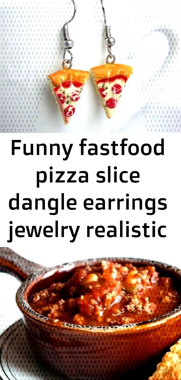 fastfood Funny fastfood dangle earrings in the shape of realistic miniature pizza slices. Perfect f