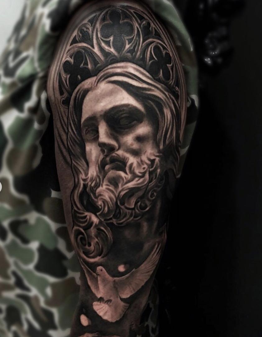 b8f22cf3d0a2f Religious sleeve by Toni García. Ganga Tattoo Studio.   Tatuajes ...