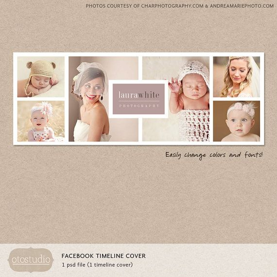 Facebook Timeline Cover Template Photo Collage Photos Digital PSD