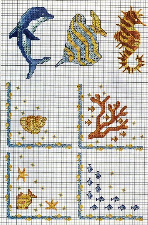 Pingl par nik rosi sur grilles points de croix sur la mer point de croix croix et broderie - Grille point de croix mer ...