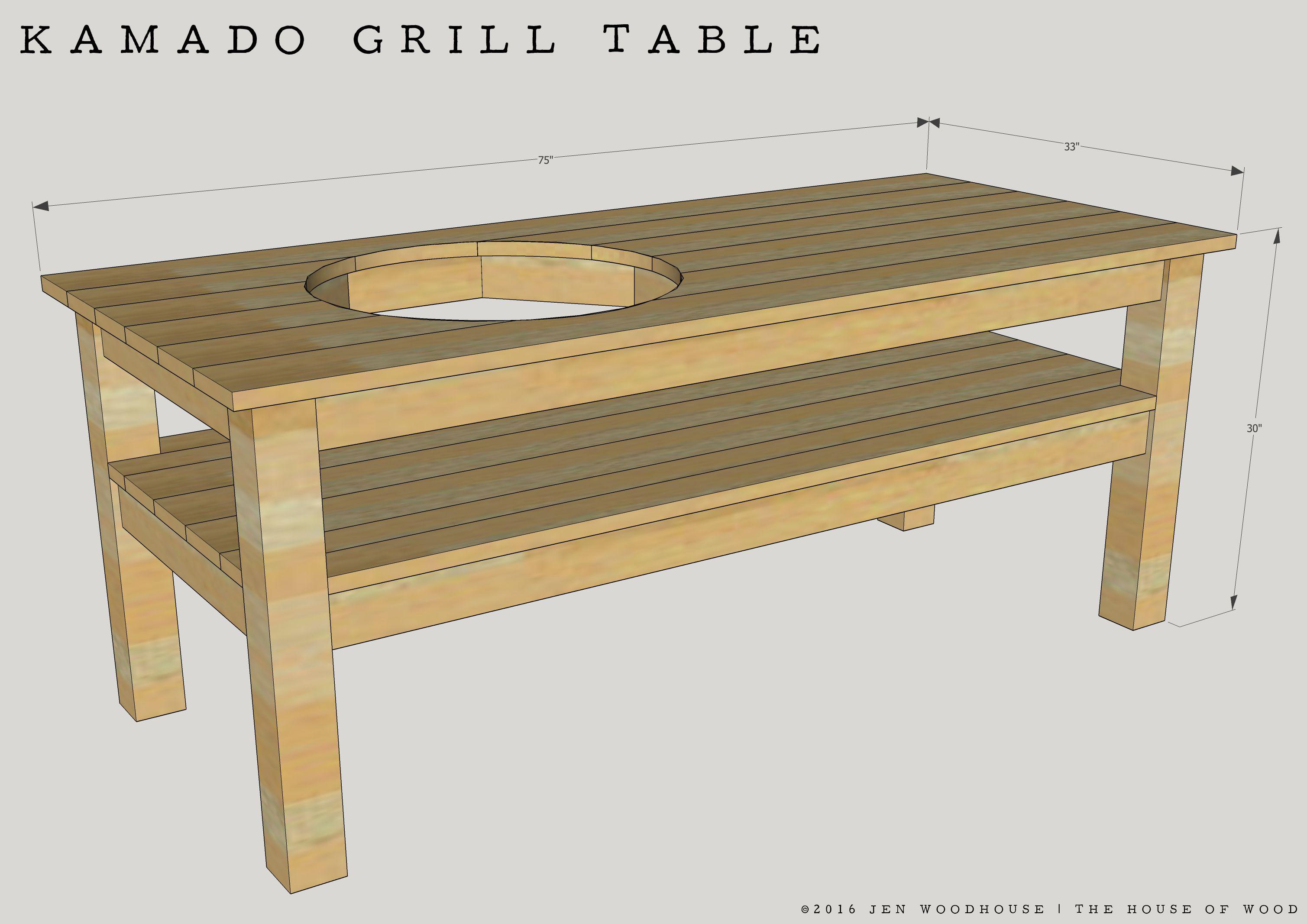 Diy Kamado Grill Table Grill Table Bbq Table Kamado Grill