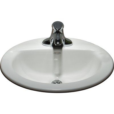 American Standard 0346403.020 White Topmount Oval Bathroom Sink