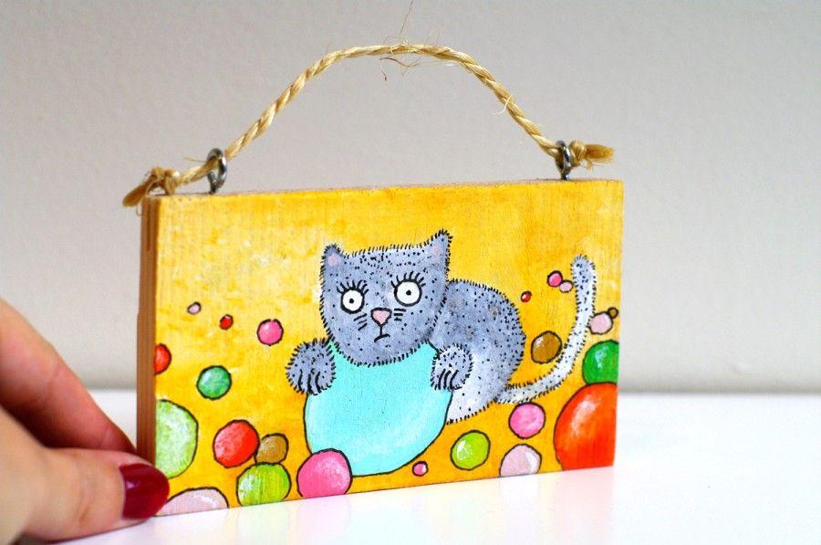 Cat nursery decor - Cat Funny painting wall art - Funny animal art ...