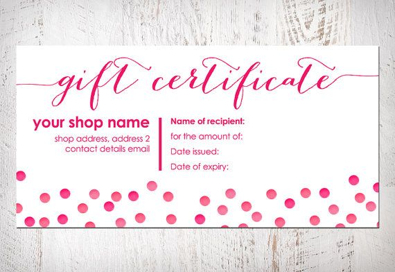 Gift Certificate Bow Card Printable Item By DulceGraceDesigns 800