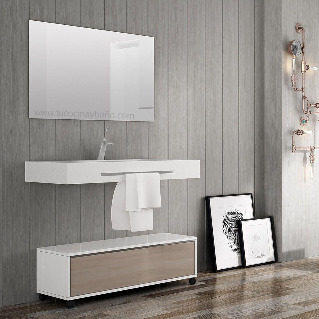 Lavabo suspendido con faldon y toallero realizado en - Mueble lavabo suspendido ...