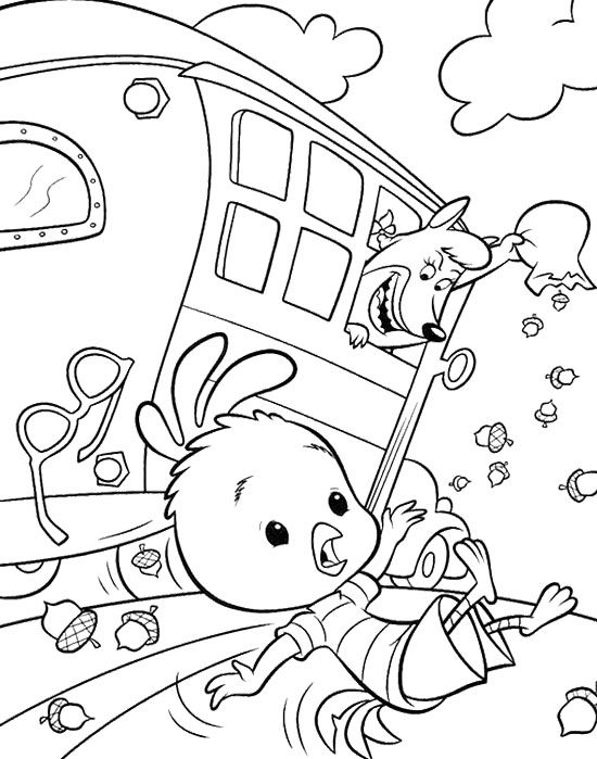 Chicken Little Fall In The Bus Coloring Page | Disney | Pinterest