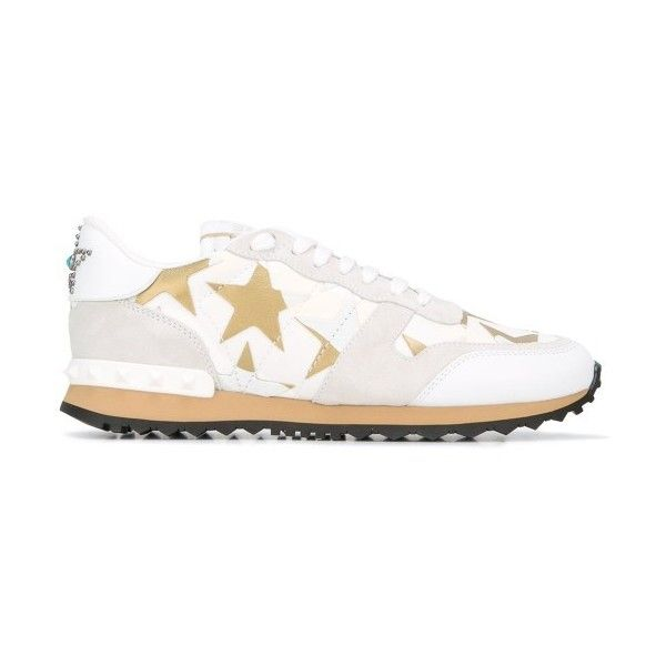 Valentino Garavani Rockstud Camoustars Sneakers ($975) ❤ liked on Polyvore featuring shoes, sneakers, valentino sneakers, valentino trainers and valentino shoes