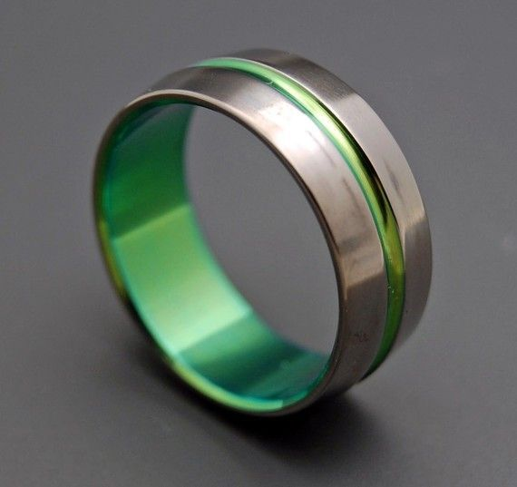 inspired by green lantern titanium wedding bands by minterandrichterdes 12000 ive see others - Green Wedding Rings