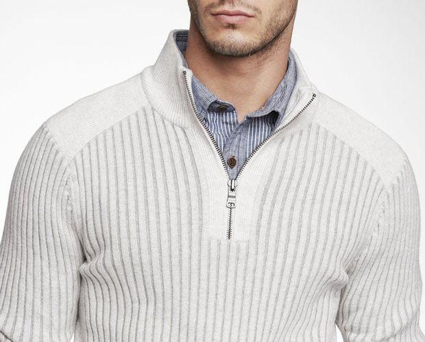 white half-zip cotton sweater pullover express | menswear ...