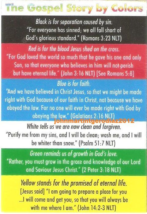Gospel Story by colors COLORS OF SALVATION Bible