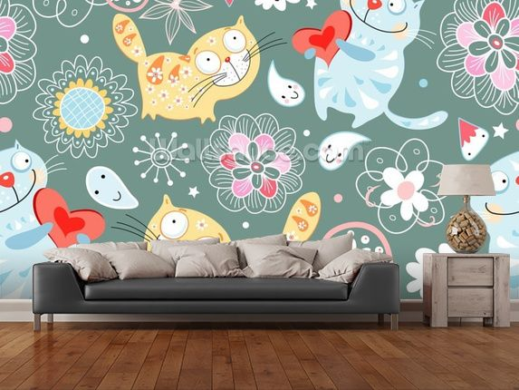 Cats Wallpaper Wallsauce Uk Cat Wallpaper Cat Wall Wallpaper