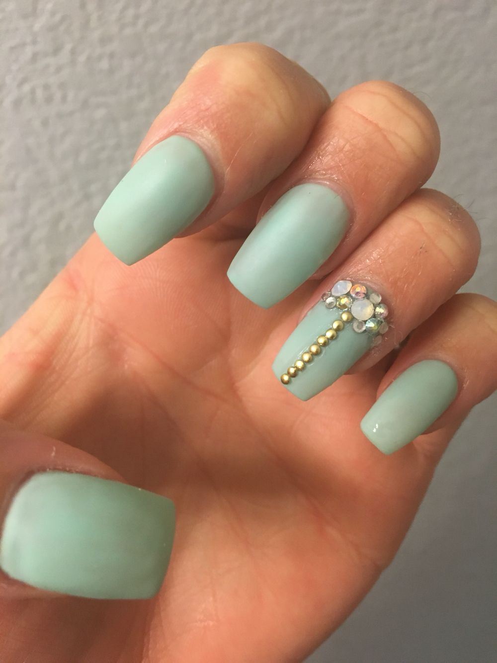 Cute acrylics nails with opal jems,sea foam green or teal | Nails ...