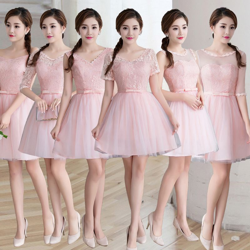 bbb695bbdbea1 US $26.31 5% OFF|Aliexpress.com : Buy Knee Length Pink Cheap Bridesmaid  Dresses Lace Half Sleeve Short Wedding Party Dress Purple Champagne Color  Robe ...