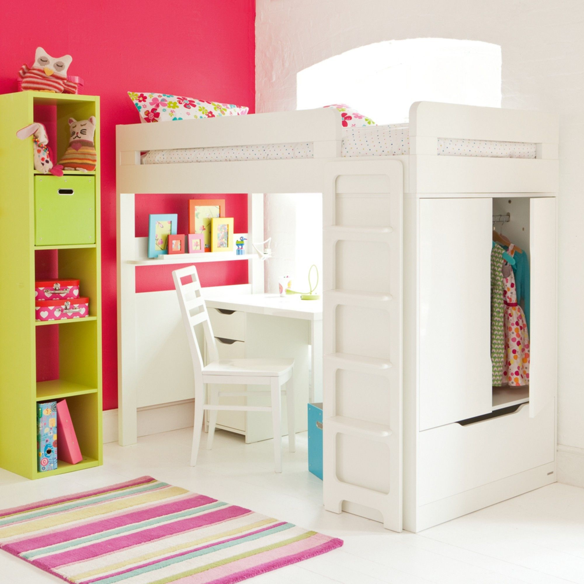 Bed with a desk wardrobe versatile children go bed under table - Farringdon High Sleeper With Desk Aspace