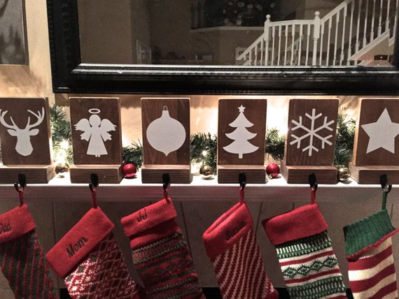 Stocking Holder Reclaimed Wood Personalized Mantle Decor Rustic Christmas Stocking Hook Name Rustic Christmas Stocking Rustic Christmas Stocking Holders
