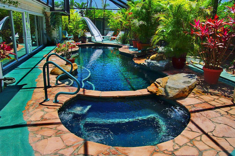Here 39 s your private garden pool by day click to see for Indoor garden pool