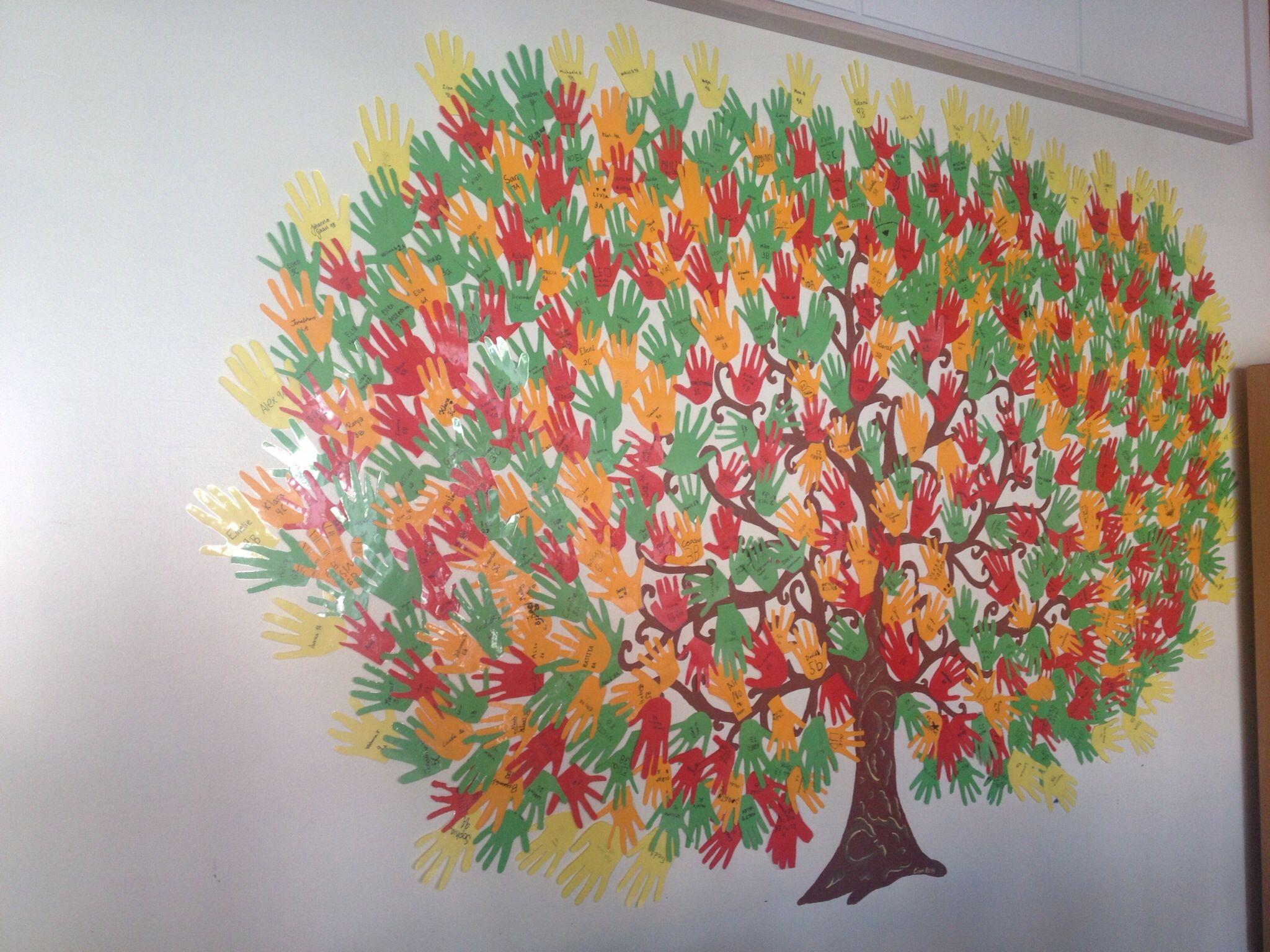 """Ett träd med hela skolans elevers händer som löv""""Vi tar hand om varandra"""" Viär en F 9 skola"""