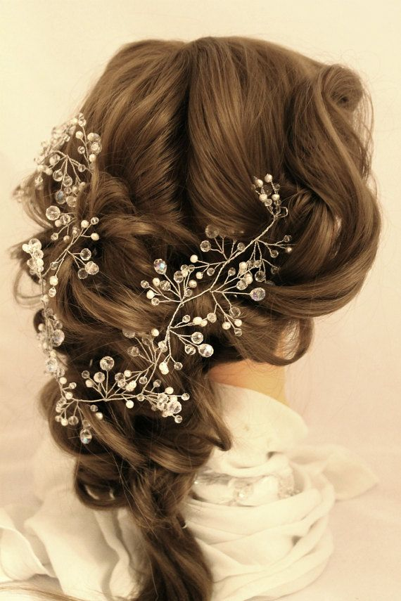 Long Hair Vine Hair Vine bridal Crystal wreath Pearl by LeraLem