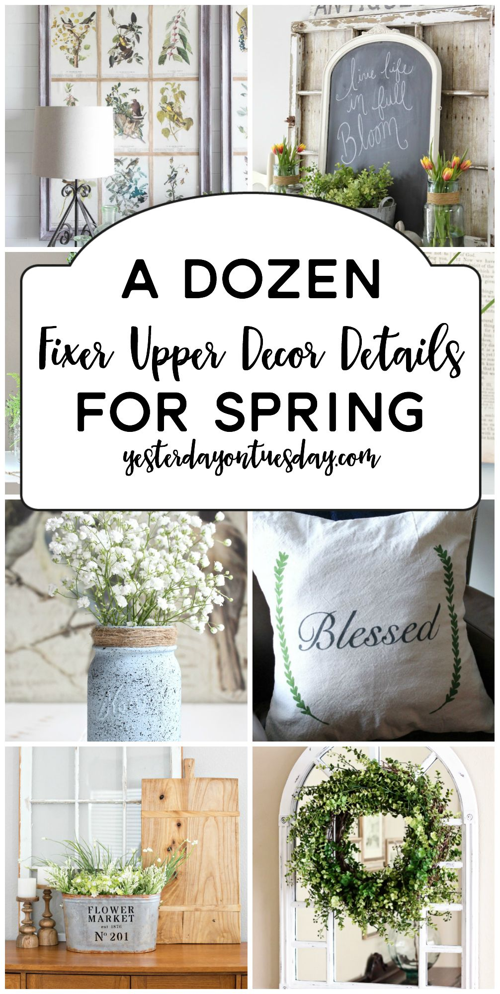 A Dozen Fixer Upper Decor Details for Spring: Fresh ideas for sprucing up your home including greenery, pillows, printables, flowers and more. modern farmhouse | fixer upper | spring | decor | decorating