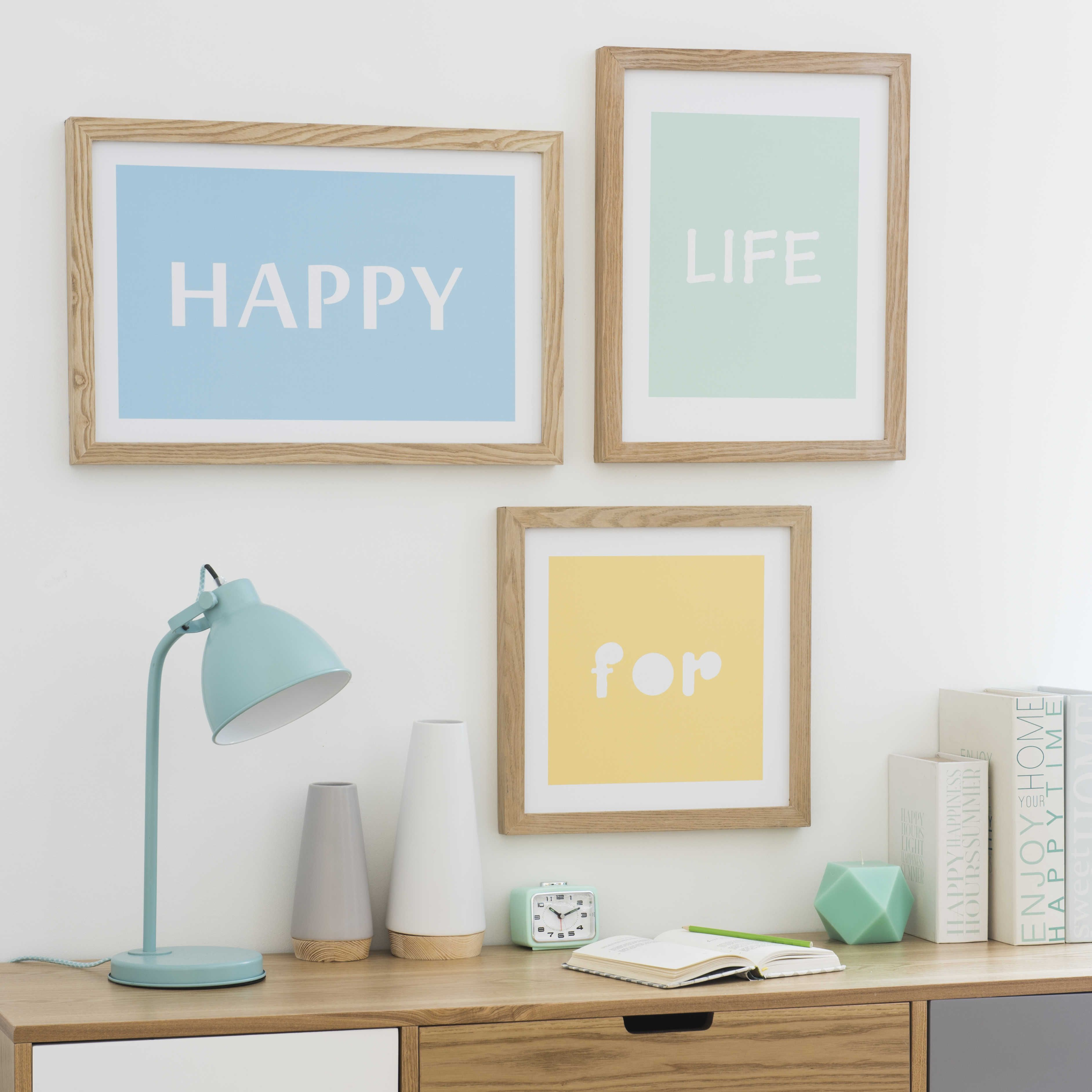 3 cuadros de madera HAPPY LIFE   Maisons du Monde   Marcos y ...