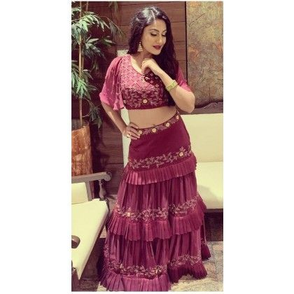 82d061409a0d1e Surbhi Chandna Style Wine Colour Ruffle Skirt With Crop top ...