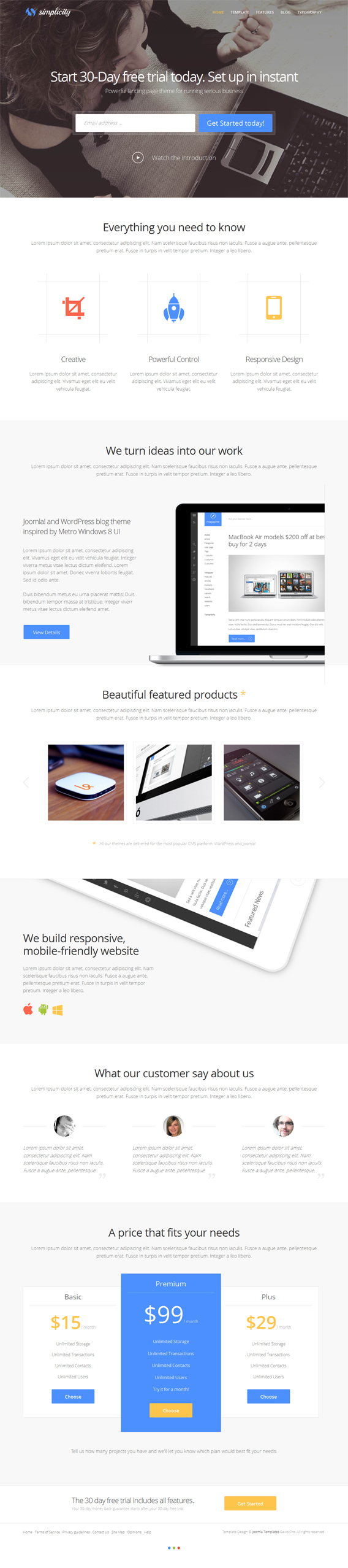 Gavick Simplicity, Premium Joomla Parallax Business by Premium Themes, via Behance