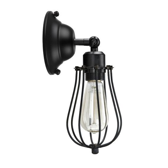 Industrial Wall Sconce Cage Sconce Downside Wall Light Loft Double