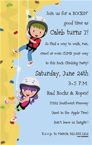 Rock Climbing Party Invitations Rock Climbing Bday