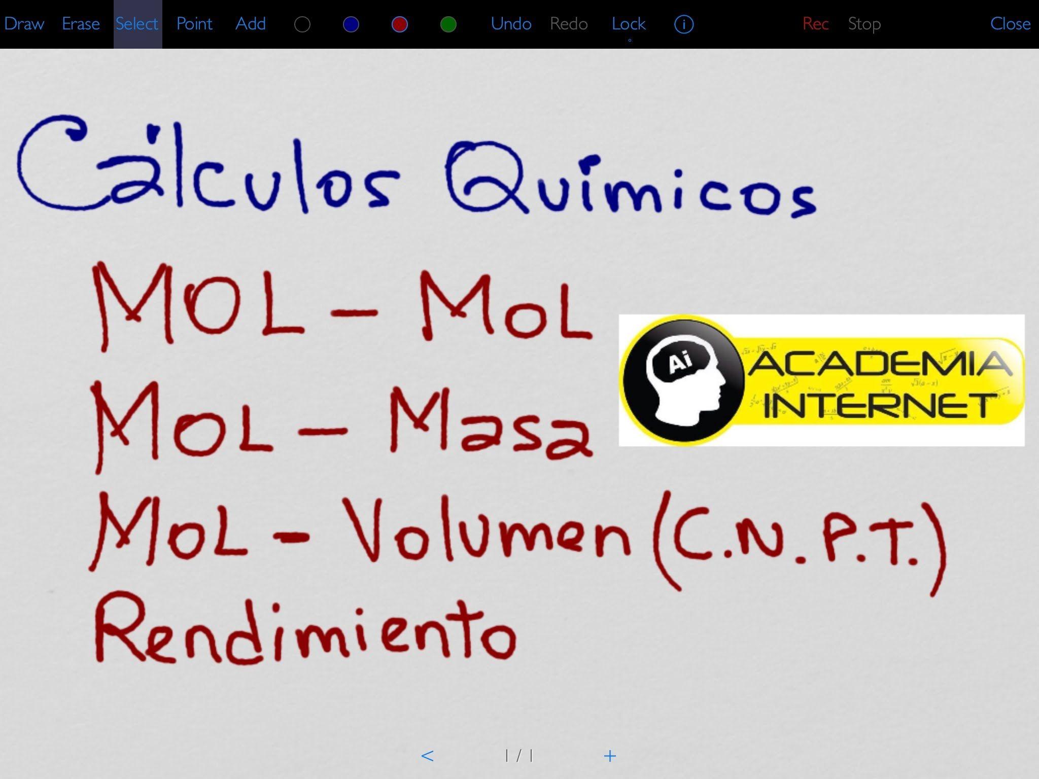 Cálculos químicos, MOL-MOL, MOL-MASA, MOL-LITROS, CNPT ...
