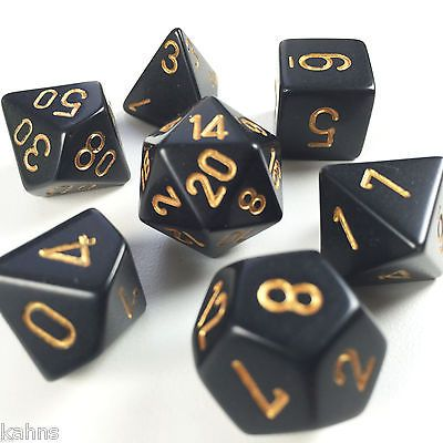 Black With Gold Chessex Polyhedral 7-Die Opaque Dice Set