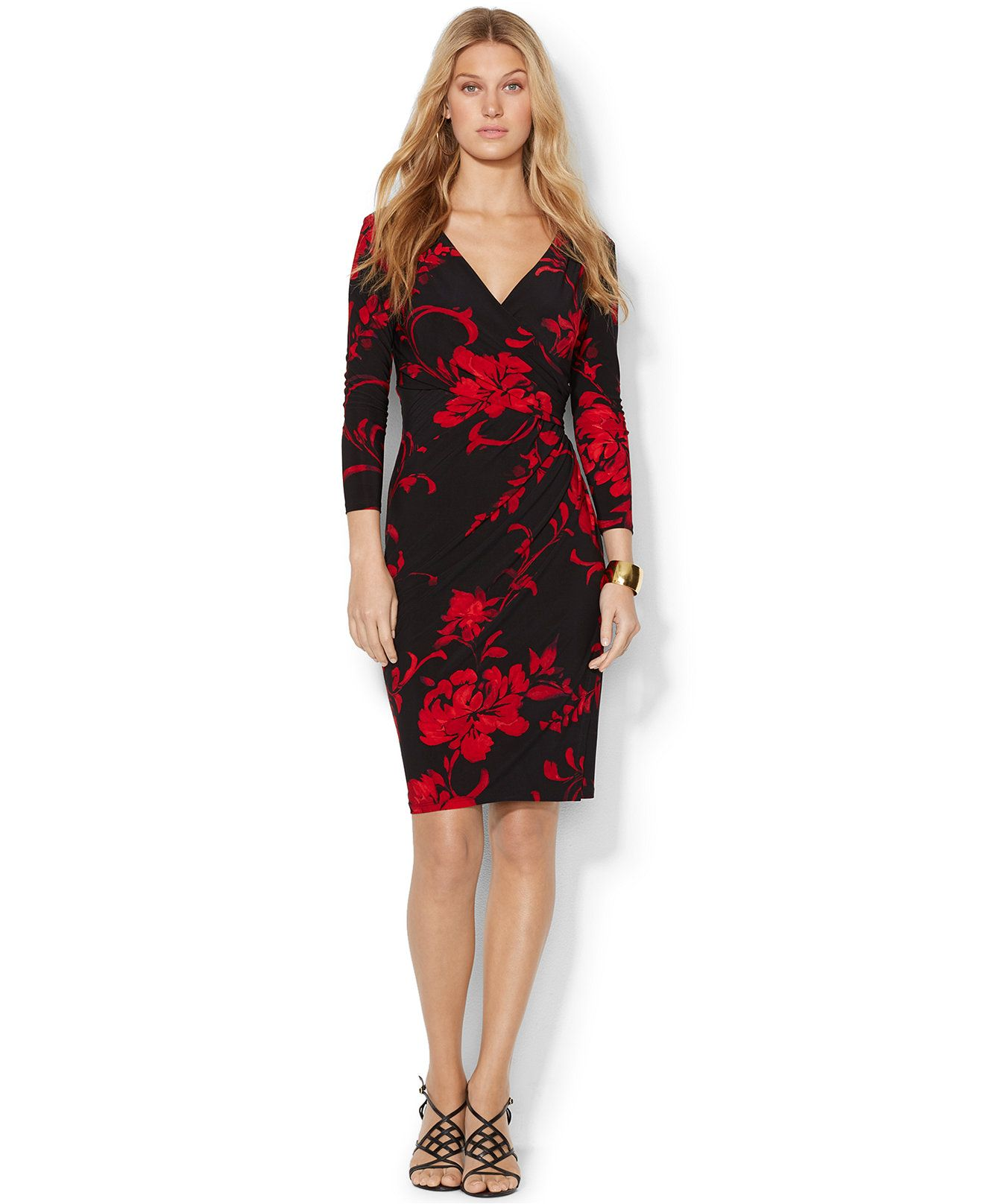 5b05f25124bf Lauren Ralph Lauren Floral-Print Faux-Wrap Dress - Dresses - Women - Macy's