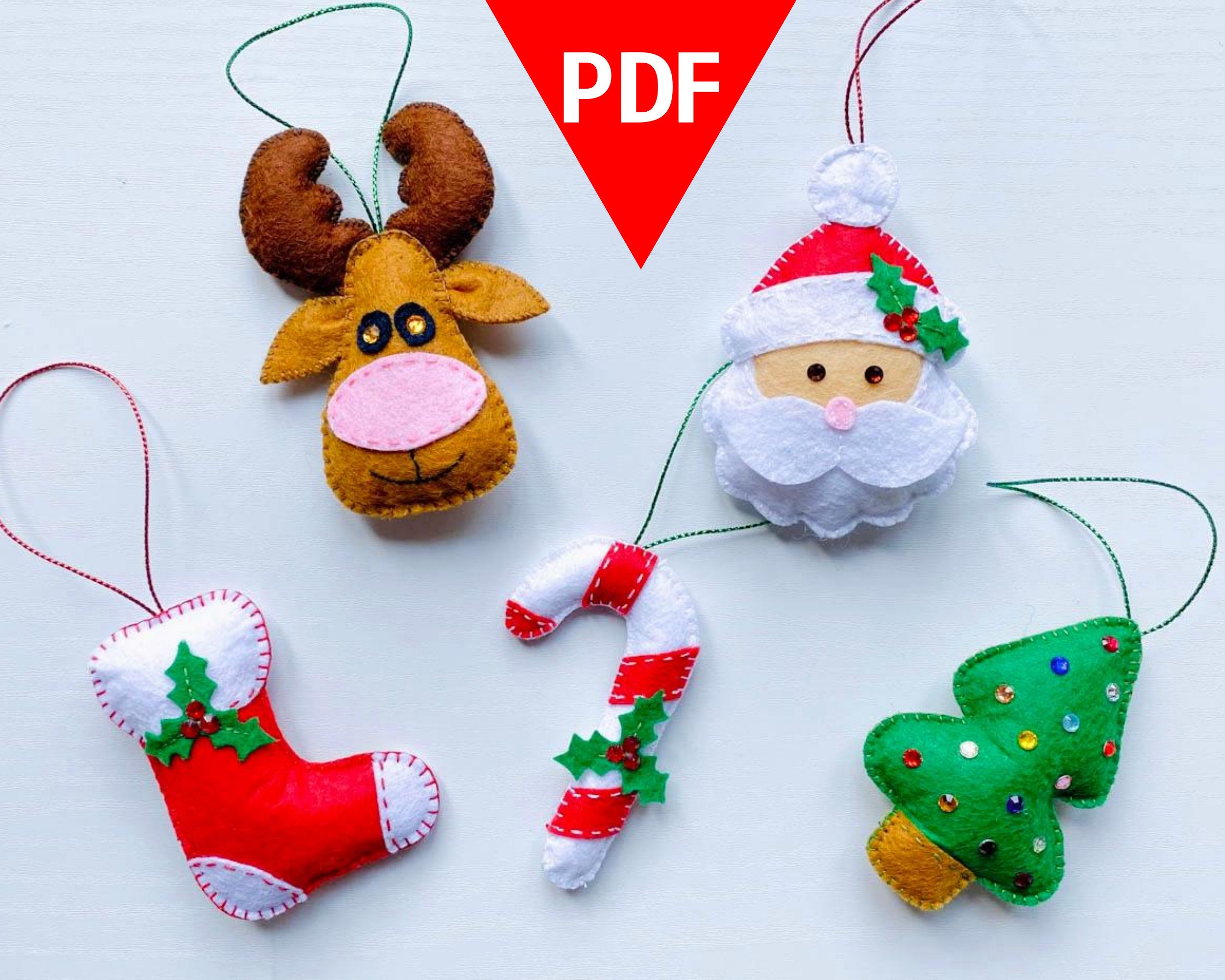 Felt Christmas Ornaments Pattern Pdf Set Of 5 Felt Toys Etsy Felt Christmas Ornaments Christmas Ornament Pattern Felt Christmas