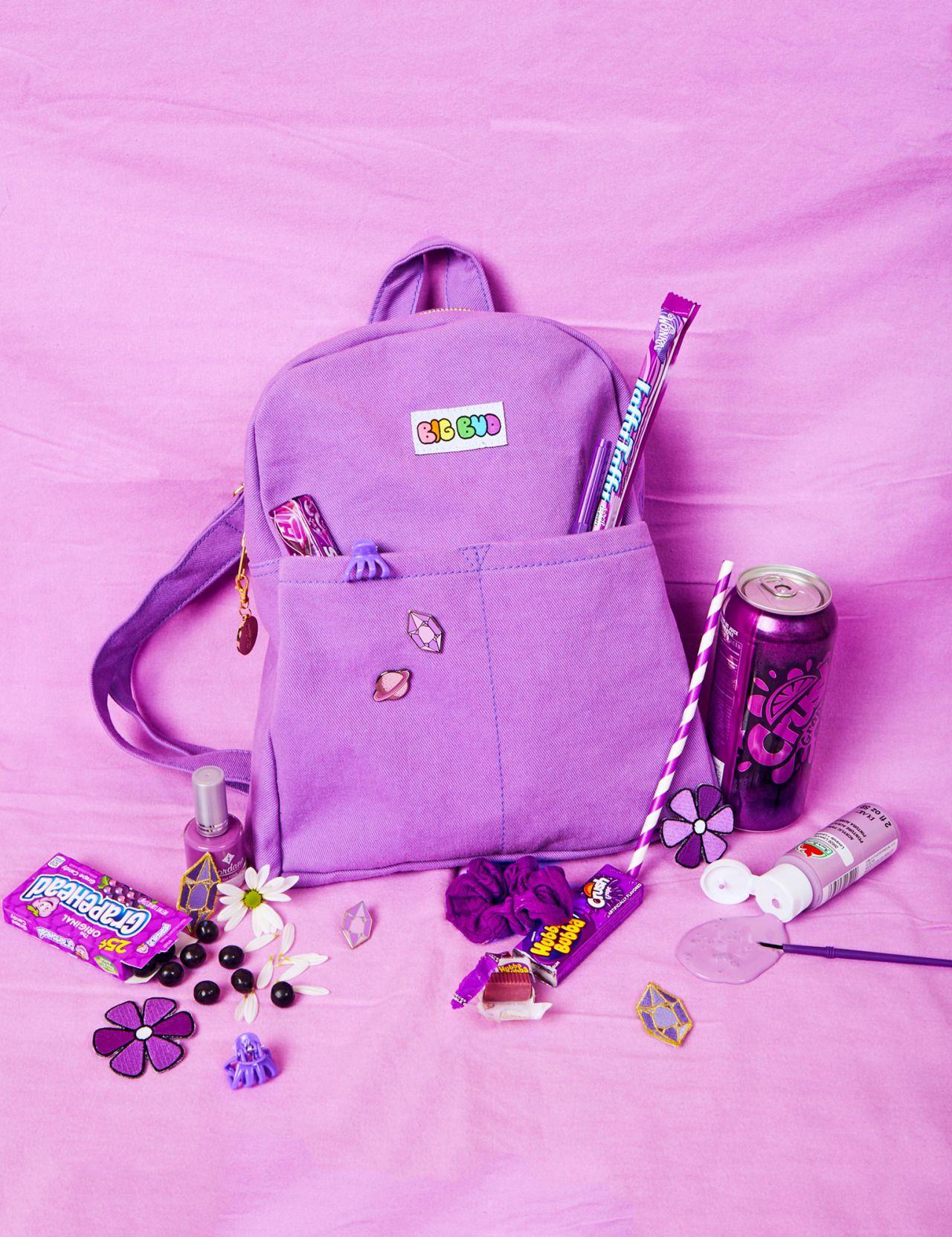 lacey micallef Heard you like backpacks สีม่วง, การ