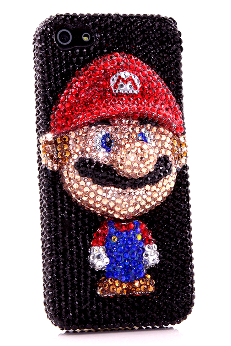 iPhone 5 5s 5c bling case Super Mario Design luxurious unique cool handmade phone  cover for women s fashion 6e39354787