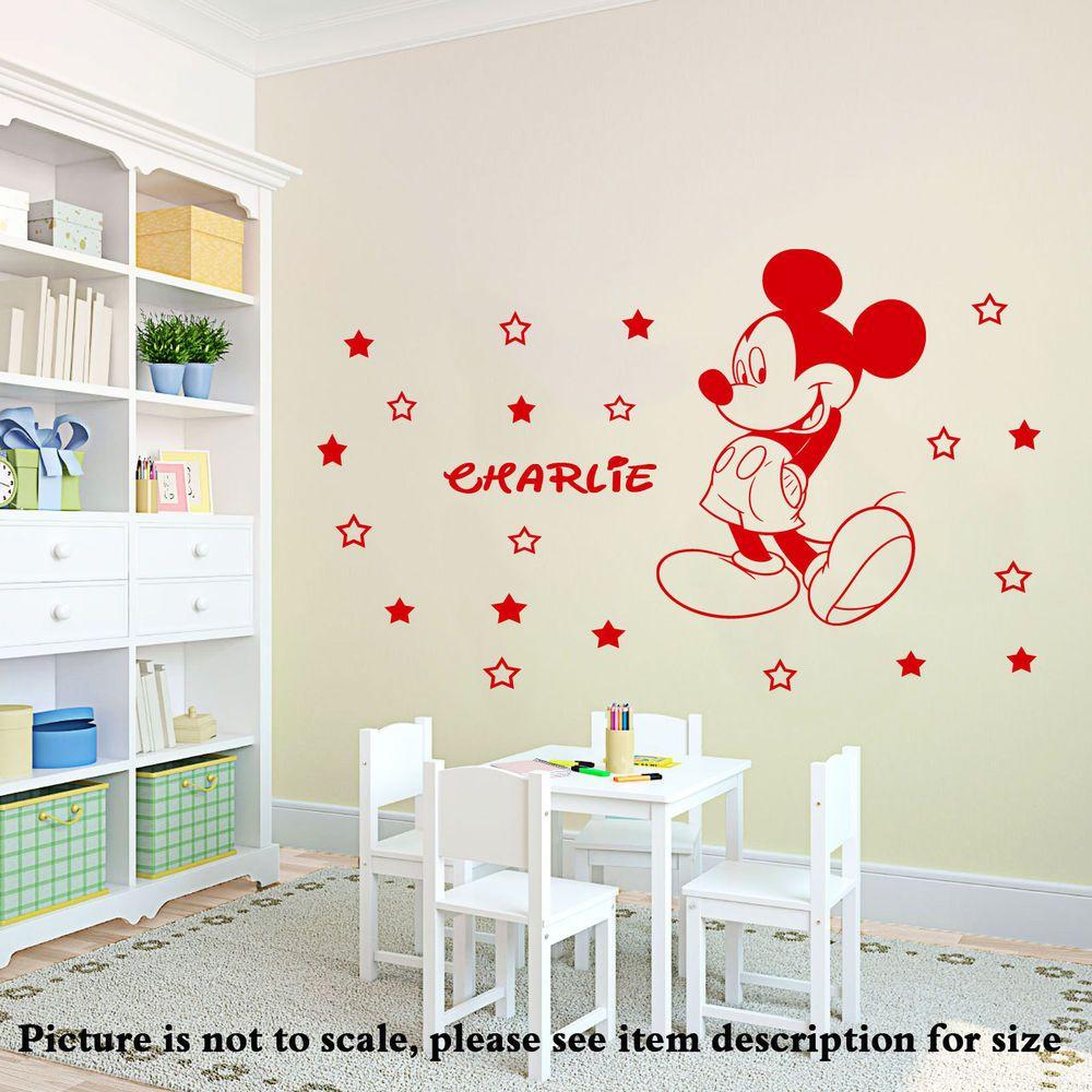 Disney Mickey Mouse Wall Stickers Nursery Wall Art Stars Vinyl - Custom vinyl wall decals disney