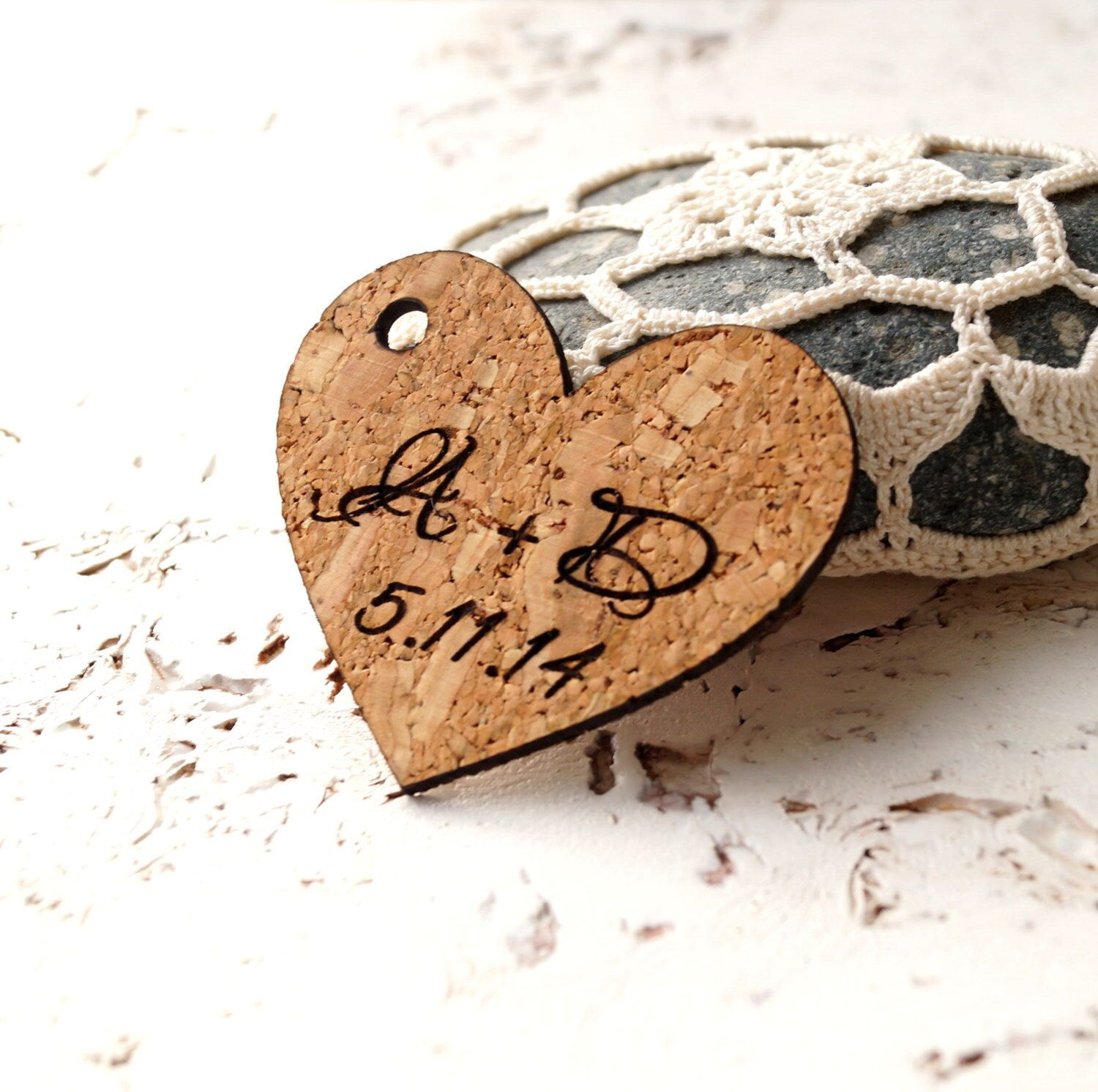 rustic favor tags wedding favor tags personalized cork heart