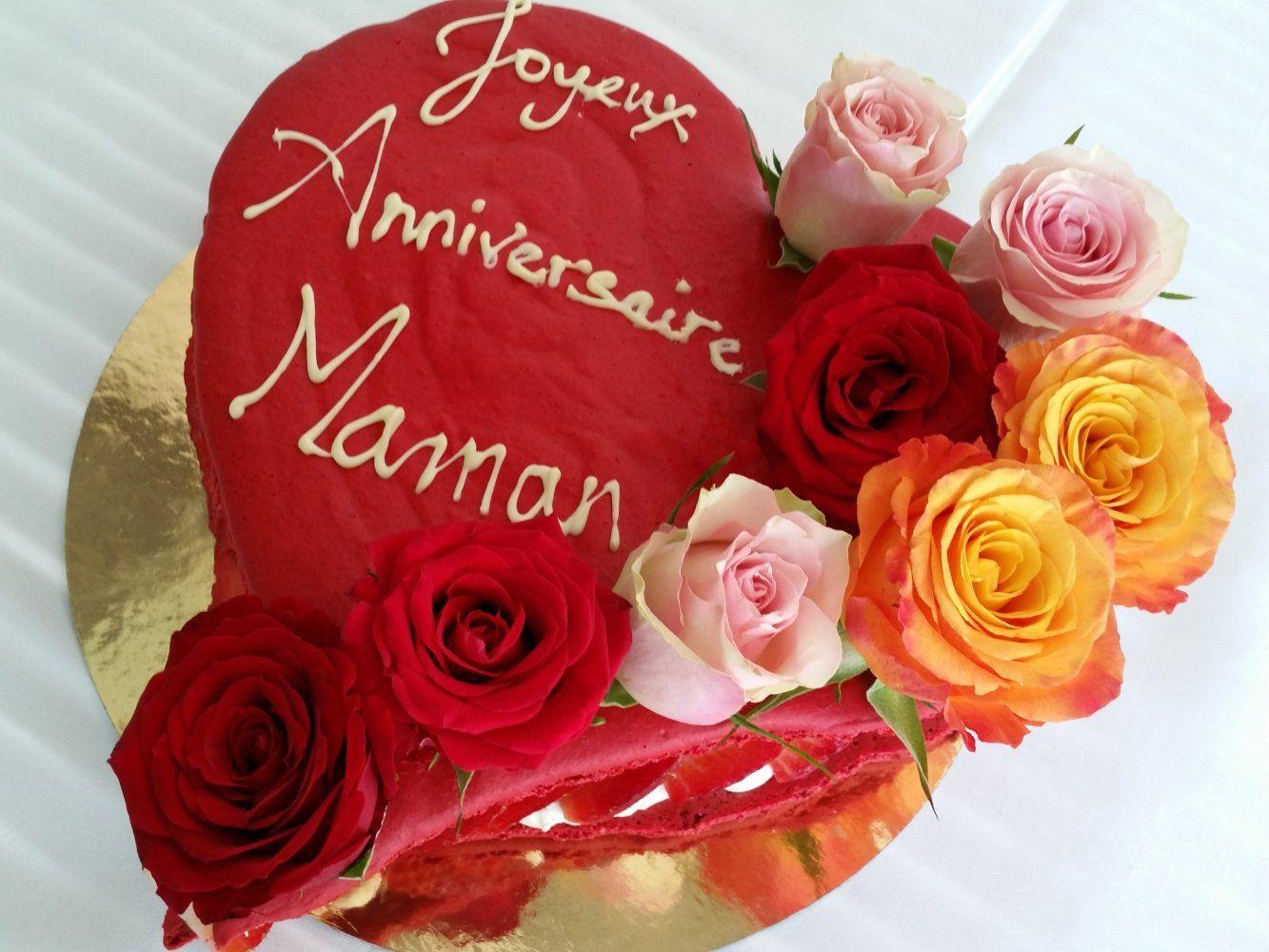 Joyeux Anniversaire Maman Coeur Et Roses Joyeux